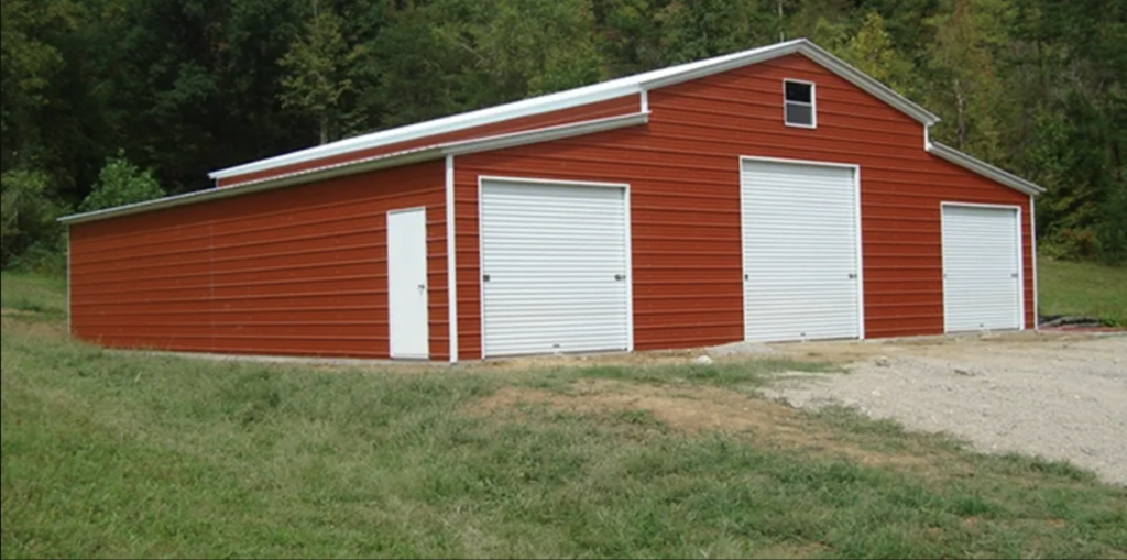 red barn with 3 garages