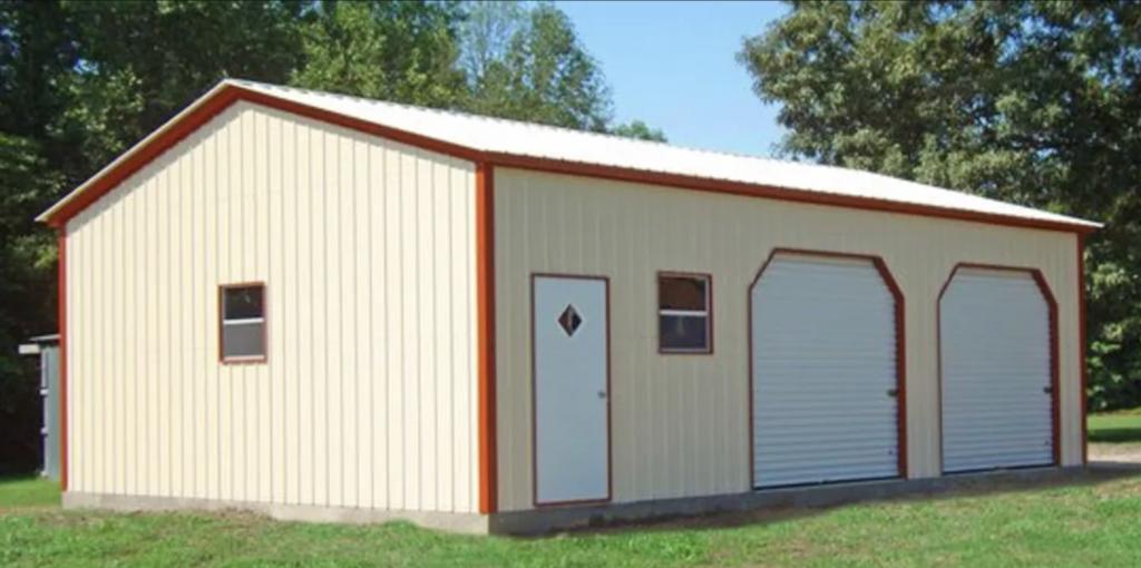 2 garage beige metal building