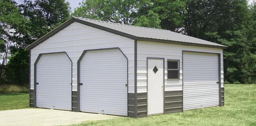 three garage metal building