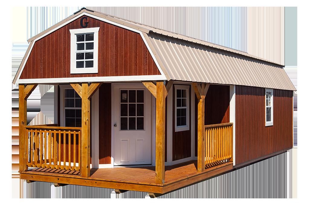 reddish brown barn with porch